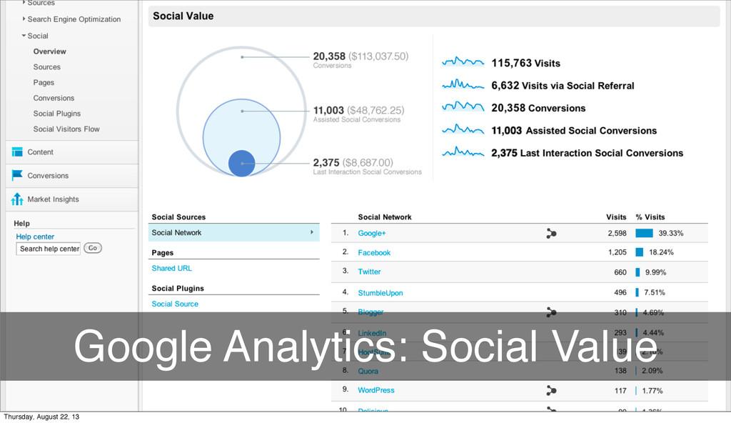 Google Analytics: Social Value Thursday, August...