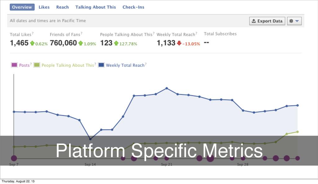 Platform Specific Metrics Thursday, August 22, 13