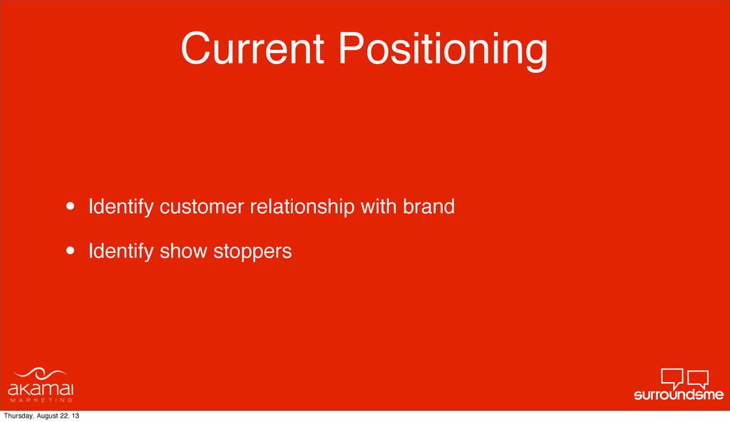 Current Positioning • Identify customer relatio...