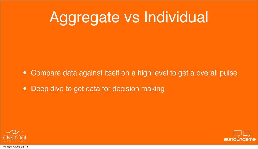 Aggregate vs Individual • Compare data against ...
