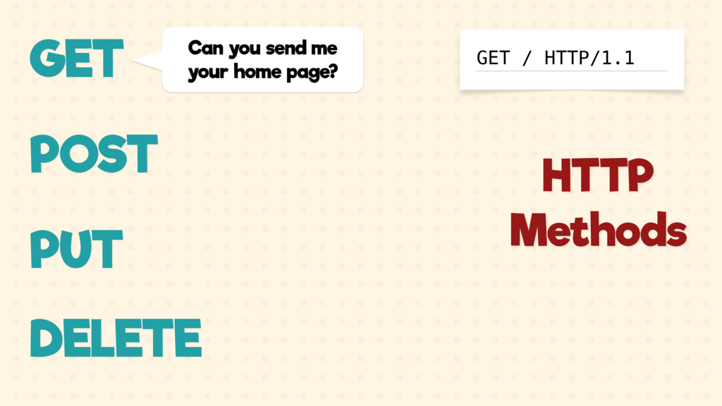 GET Can you send me your home page? GET / HTTP/...