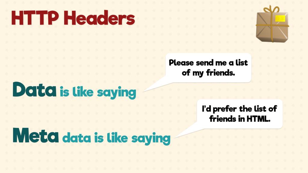 Meta data is like saying I'd prefer the list of...