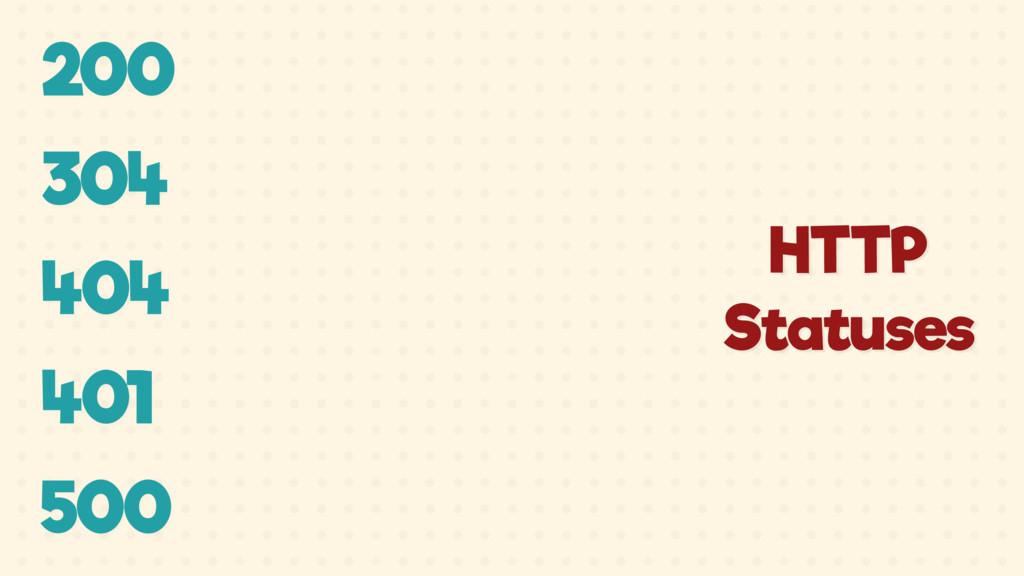 200 304 404 401 500 HTTP Statuses