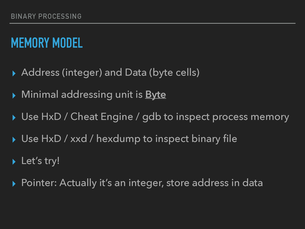 BINARY PROCESSING MEMORY MODEL ▸ Address (integ...