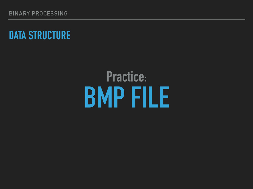 BINARY PROCESSING DATA STRUCTURE BMP FILE Pract...