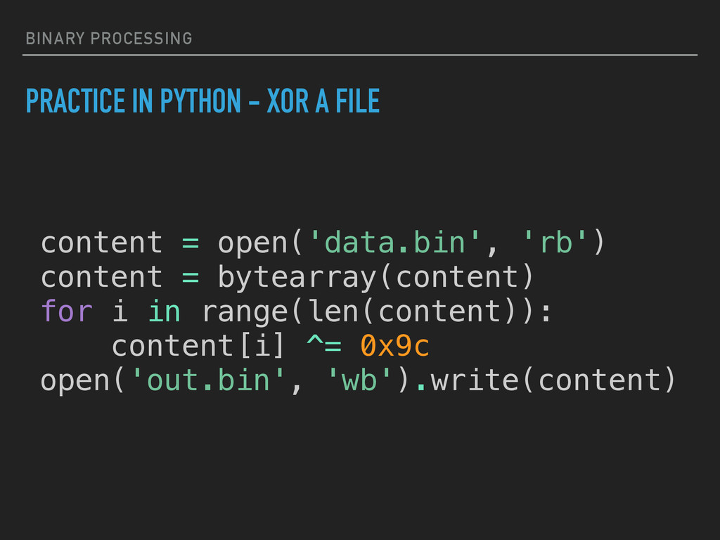 BINARY PROCESSING PRACTICE IN PYTHON - XOR A FI...
