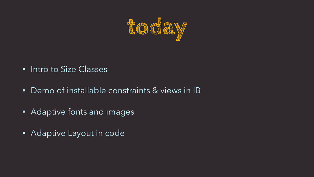today • Intro to Size Classes • Demo of install...