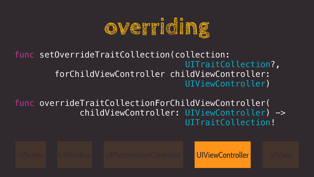 overriding func setOverrideTraitCollection(coll...