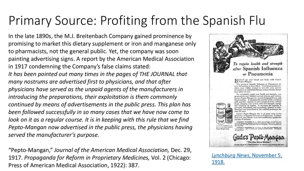 Primary Source: Profiting from the Spanish Flu ...