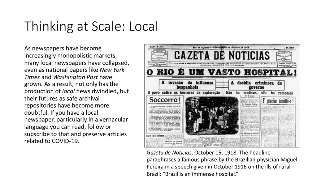 Thinking at Scale: Local As newspapers have bec...