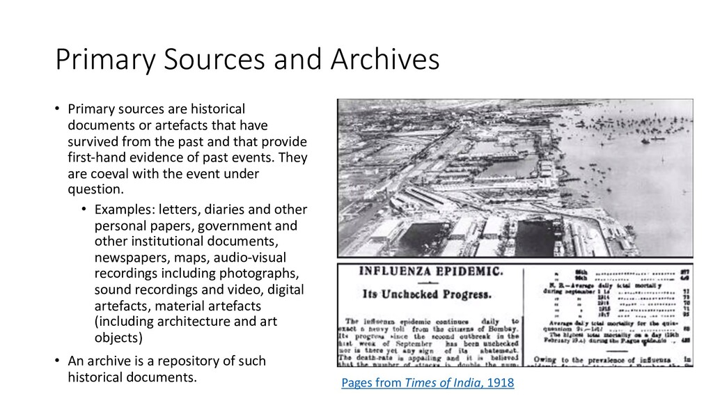 Primary Sources and Archives • Primary sources ...