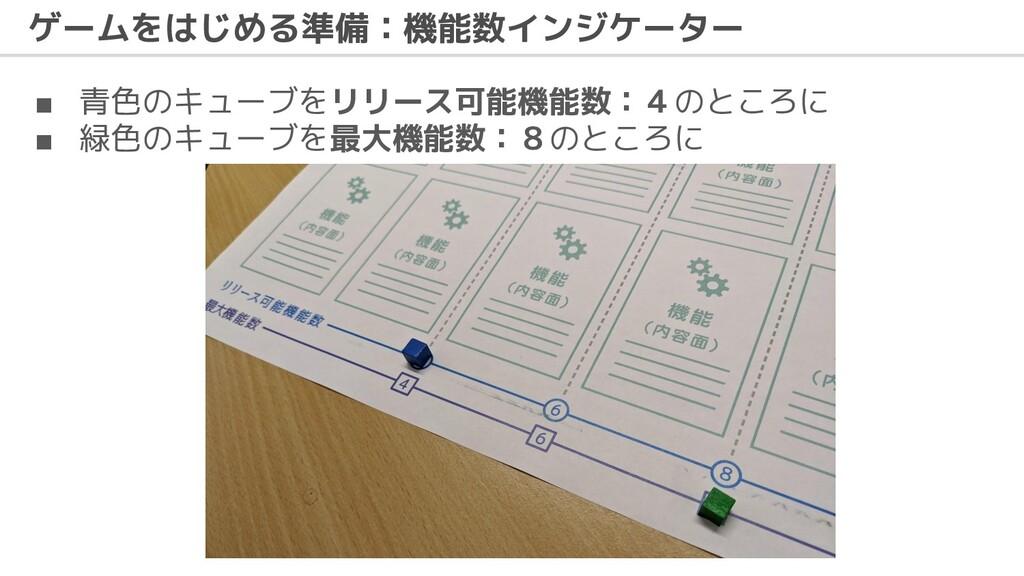 ゲームをはじめる準備:機能数インジケーター ■ 青色のキューブをリリース可能機能数:4のところ...