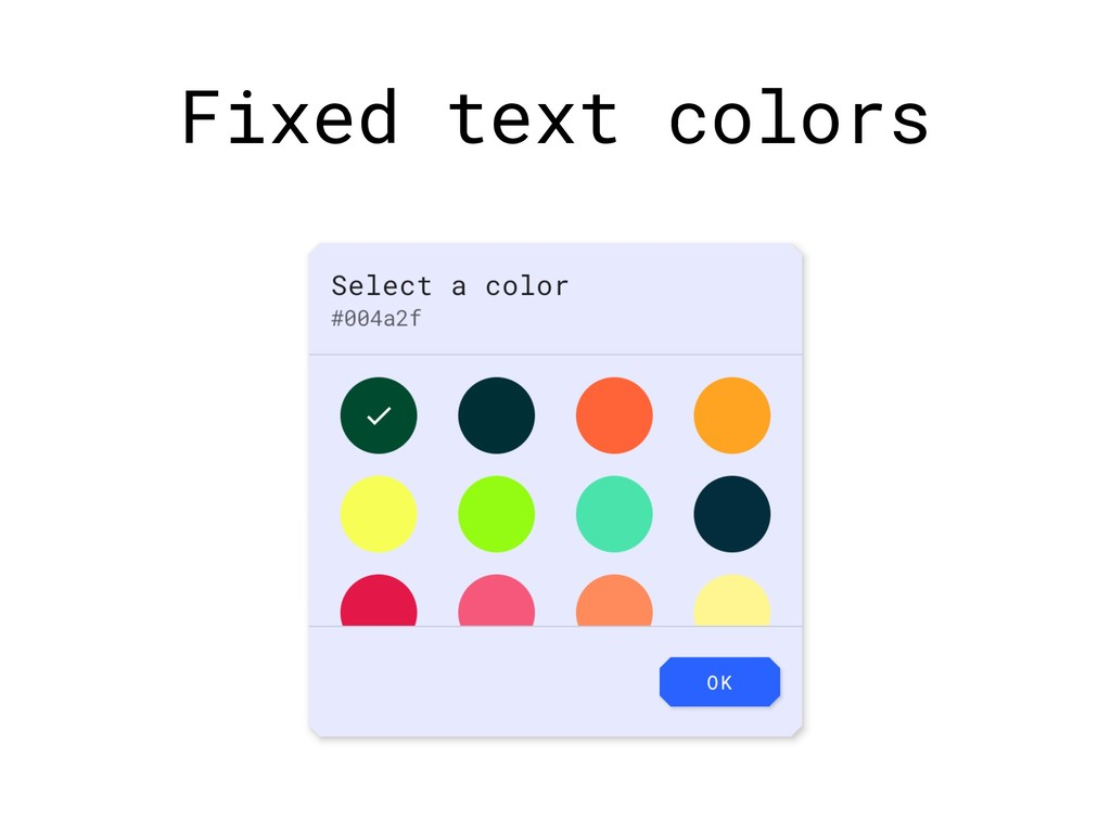 Fixed text colors