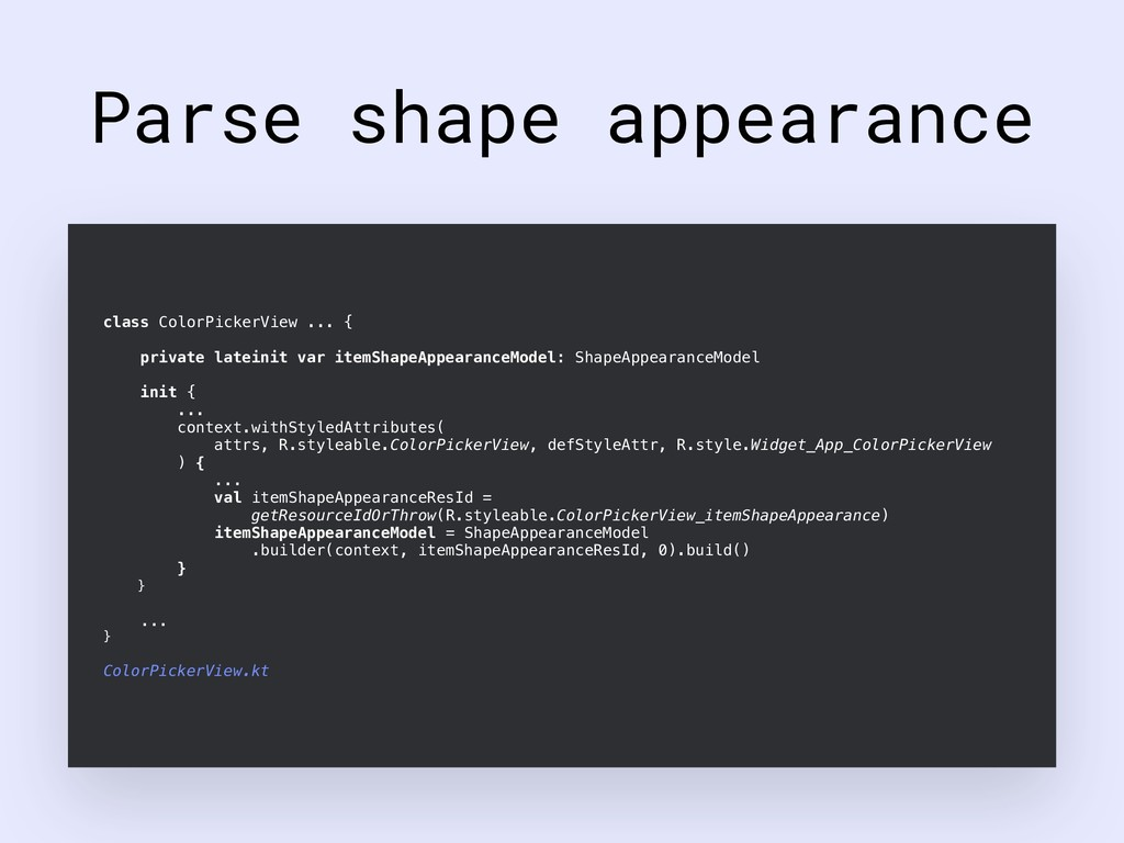 Parse shape appearance class ColorPickerView .....