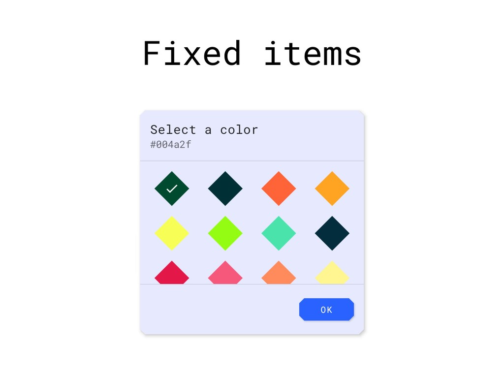 Fixed items