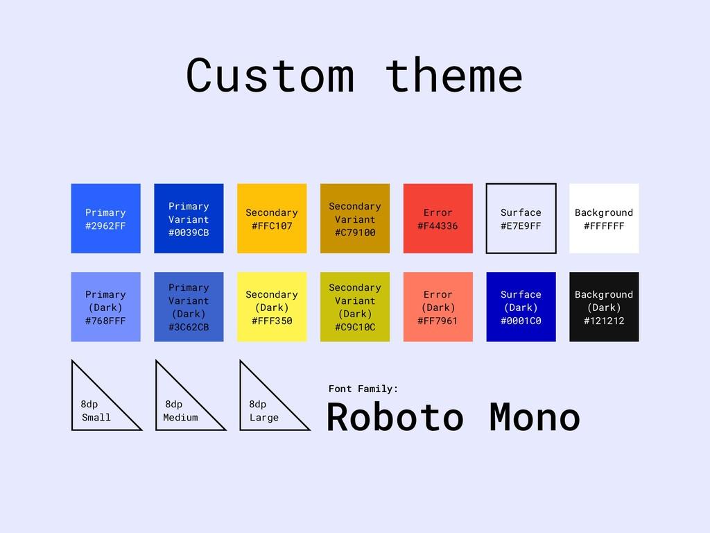 Custom theme Primary #2962FF Primary Variant #0...