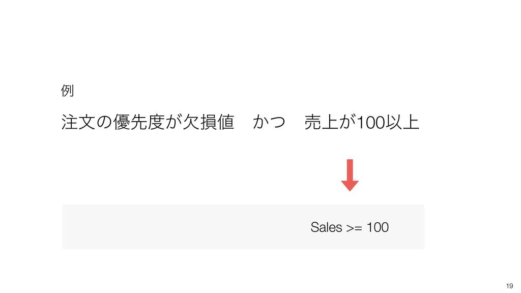 19 จͷ༏ઌ͕ܽଛɹ͔ͭɹച্͕100Ҏ্ ྫ Sales >= 100