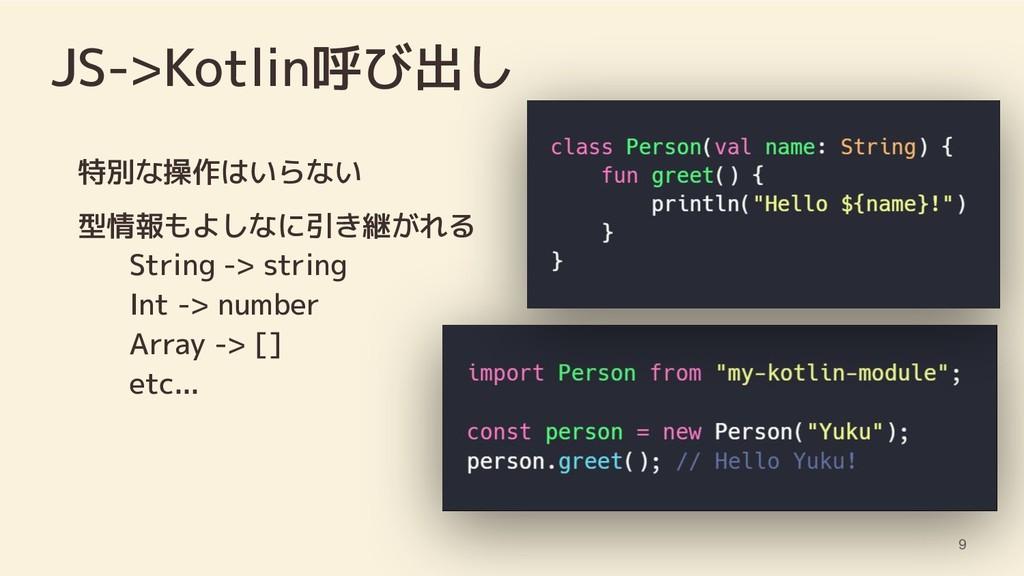 JS->Kotlin呼び出し 特別な操作はいらない 型情報もよしなに引き継がれる String...