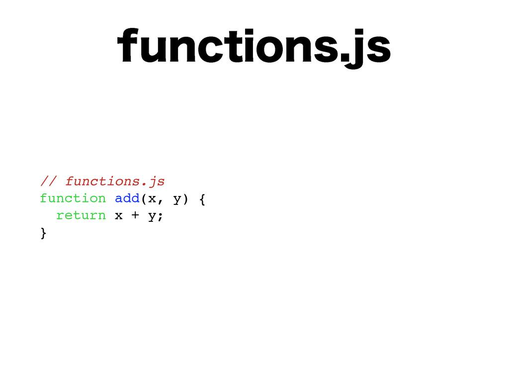 GVODUJPOTKT // functions.js function add(x, y)...