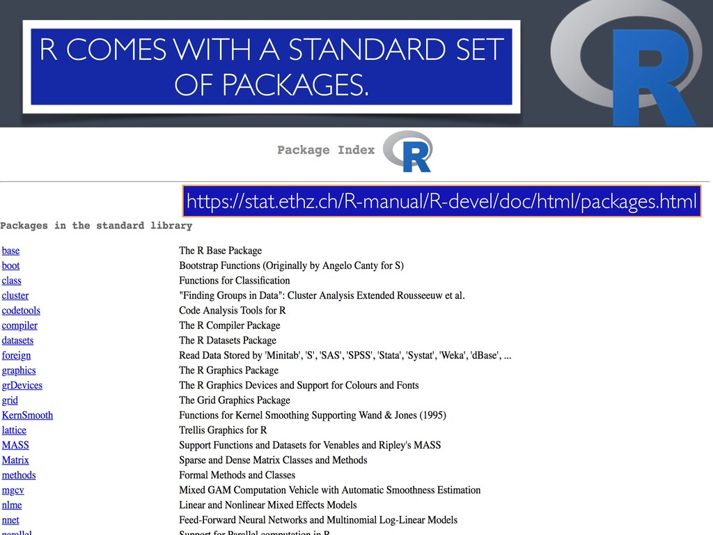 R COMES WITH A STANDARD SET OF PACKAGES. 11 The...