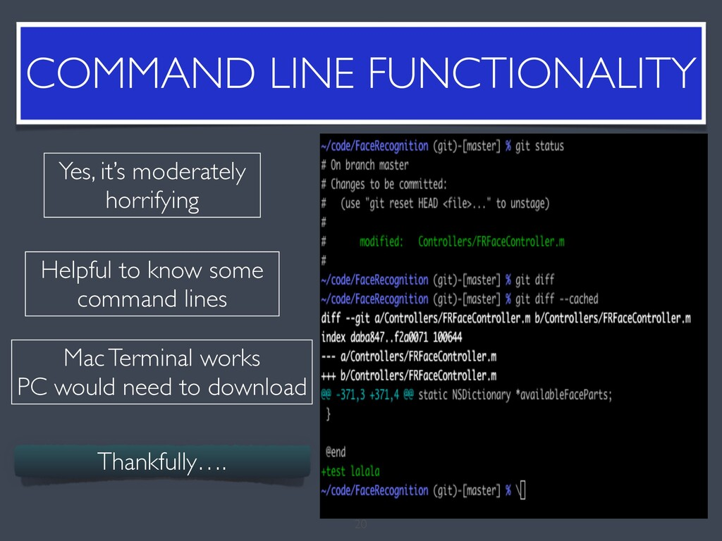 COMMAND LINE FUNCTIONALITY 20 Yes, it's moderat...
