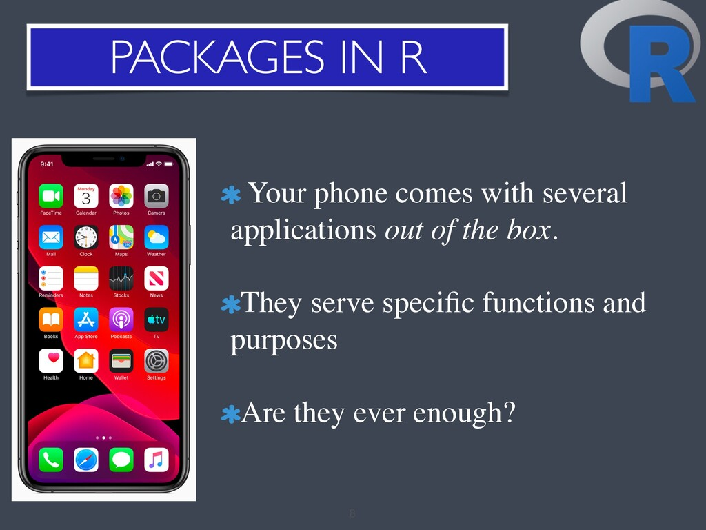 PACKAGES IN R 8 Your phone comes with several a...
