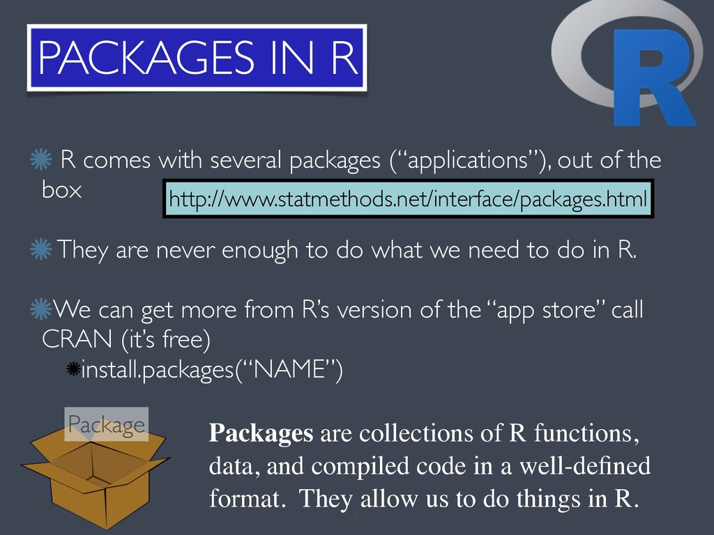PACKAGES IN R 9 http://www.statmethods.net/inte...