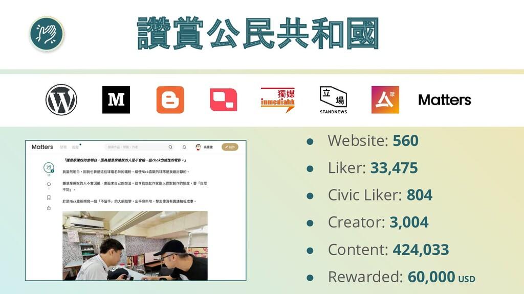 讚賞公民共和國 ● Website: 560 ● Liker: 33,475 ● Civic ...