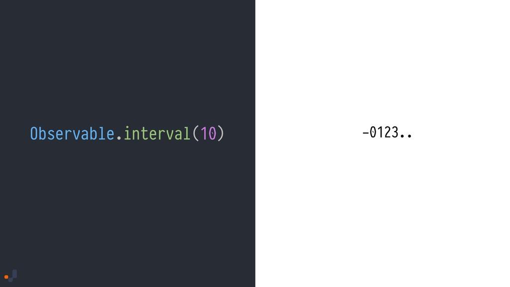 Observable.interval(10) -0123..