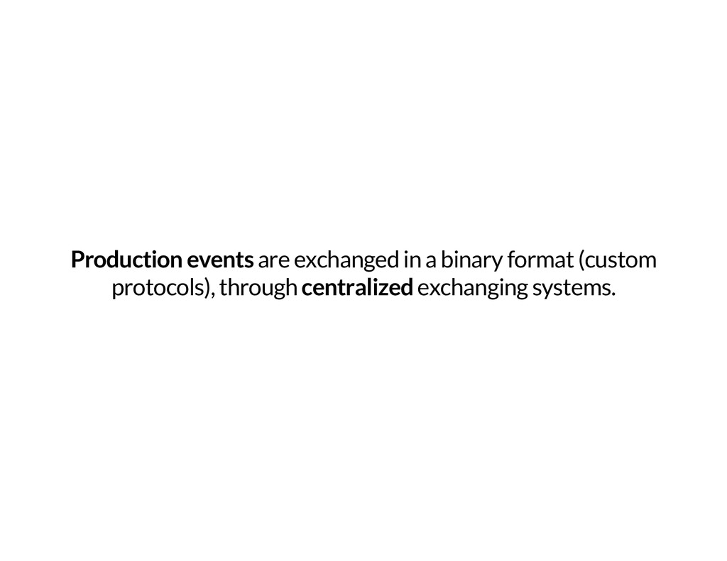 Production events are exchanged in a binary for...