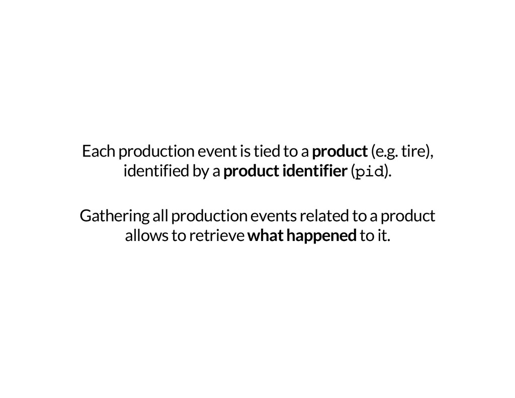 Each production event is tied to a product (e.g...