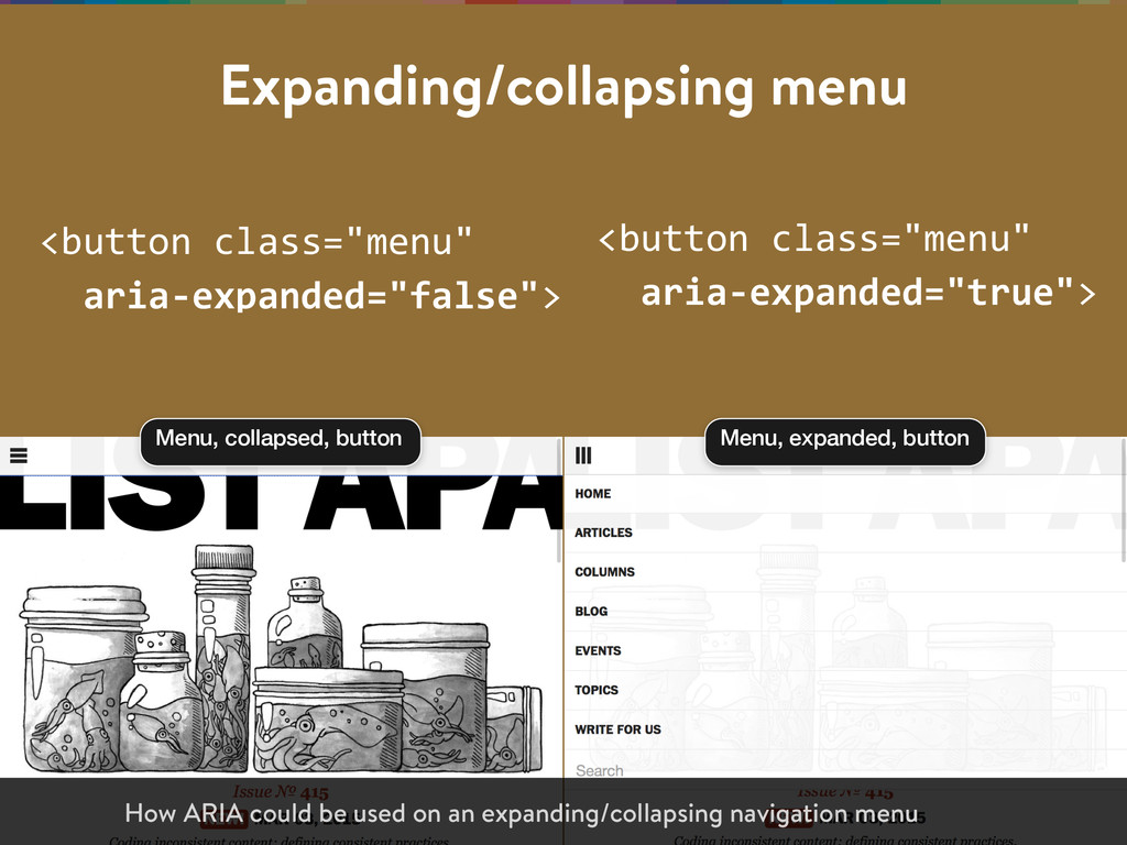 "Expanding/collapsing menu <button class=""menu""..."