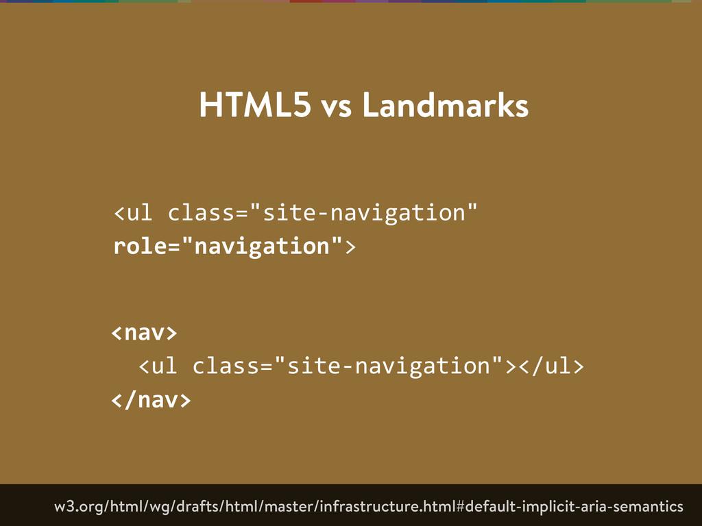 "HTML5 vs Landmarks <ul class=""site-‐navigatio..."