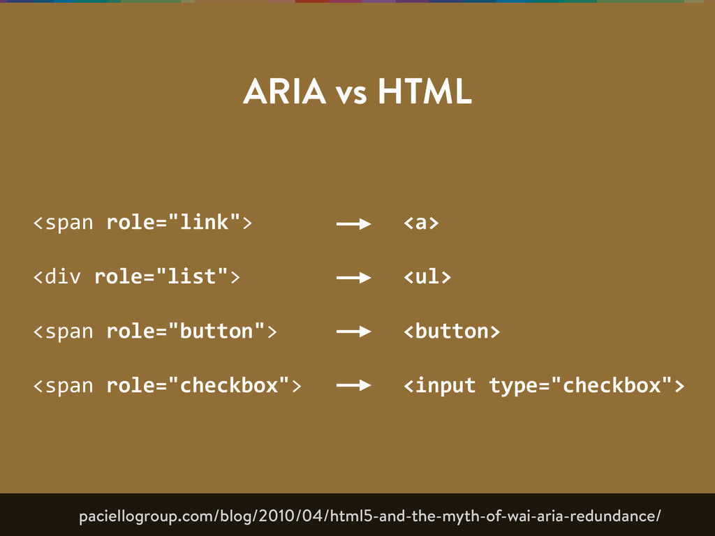 "ARIA vs HTML <span  role=""link"">   <div  role=""..."