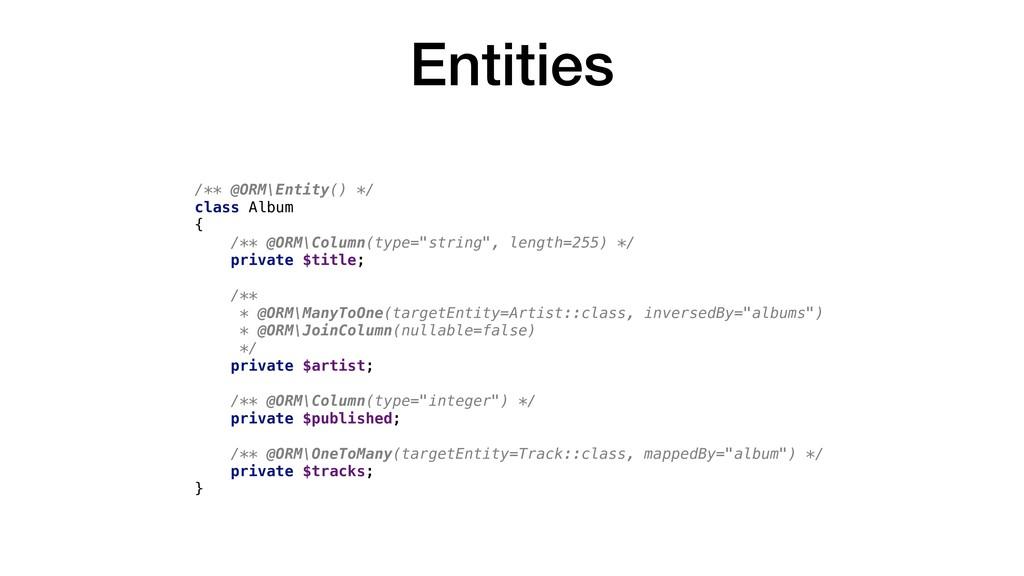 Entities /** @ORM\Entity() */ class Album { /**...