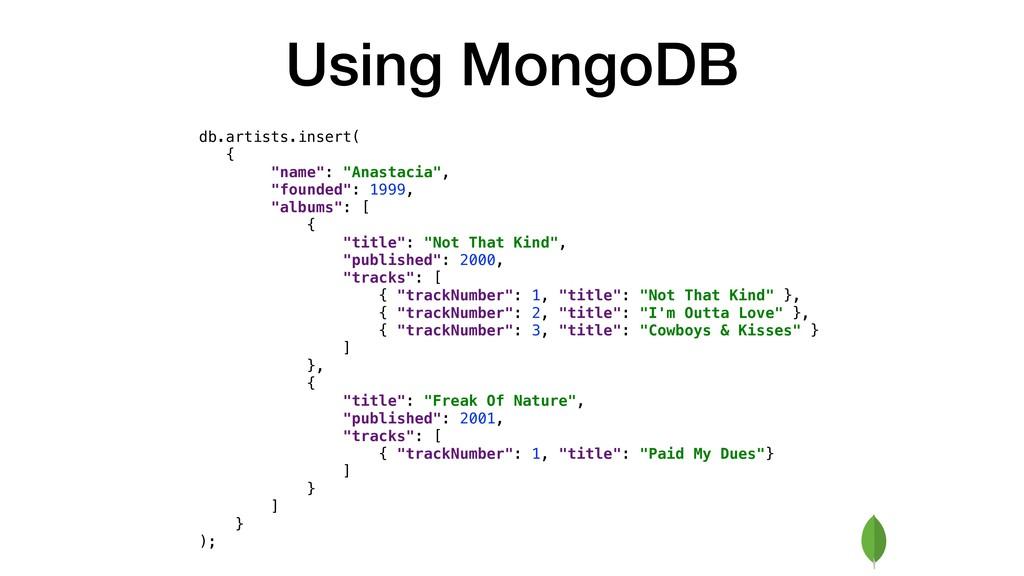 "Using MongoDB db.artists.insert( { ""name"": ""Ana..."