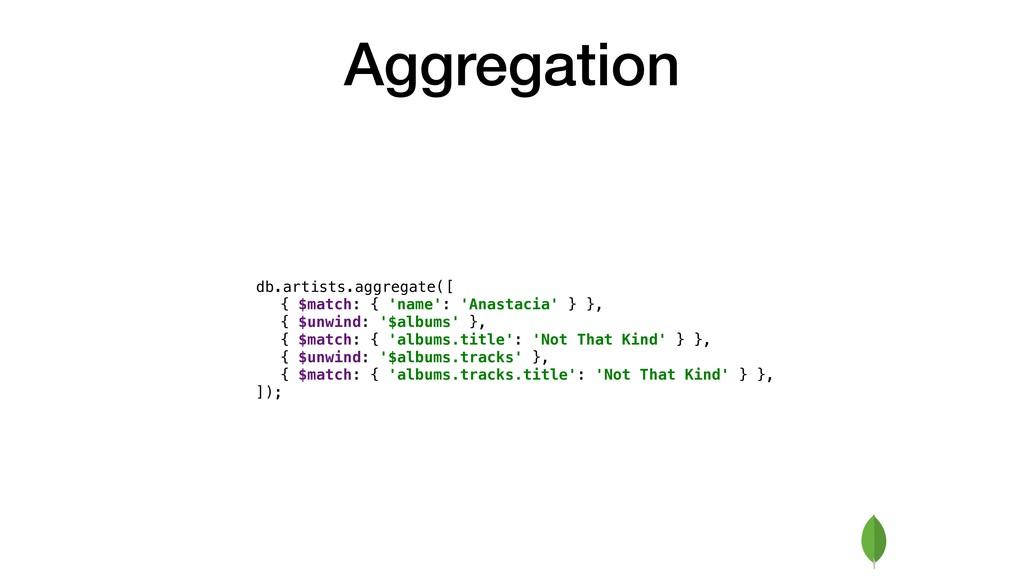 Aggregation { $match: { 'name': 'Anastacia' } }...