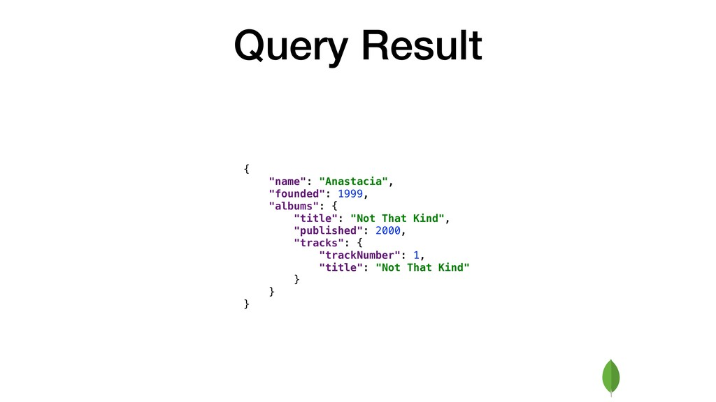 """Query Result { """"name"""": """"Anastacia"""", """"founded"""": ..."""