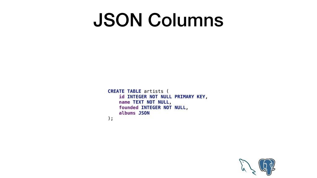 JSON Columns CREATE TABLE artists ( id INTEGER ...