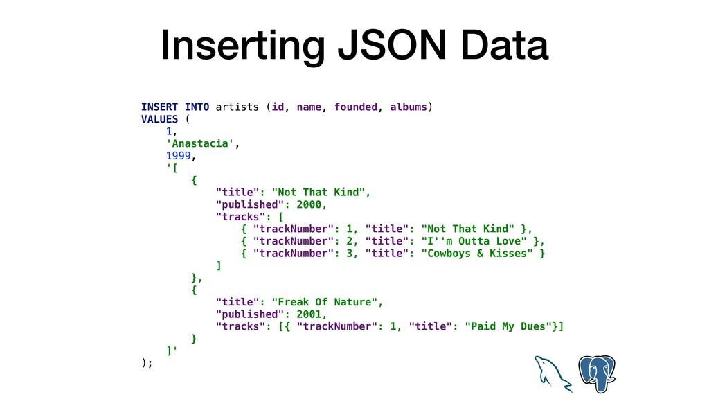 Inserting JSON Data INSERT INTO artists (id, na...