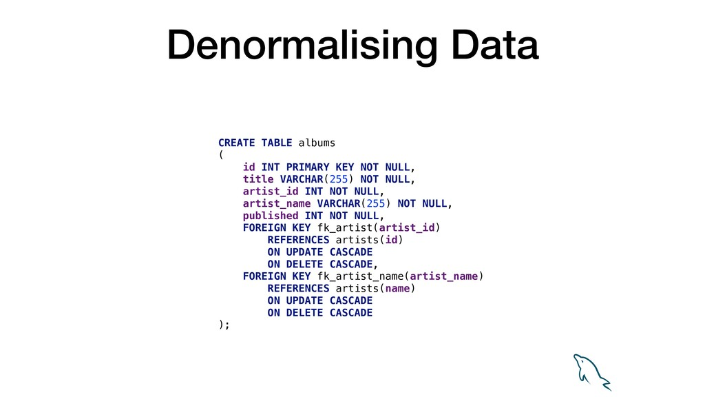 Denormalising Data CREATE TABLE albums ( id INT...