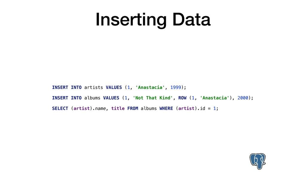 Inserting Data INSERT INTO artists VALUES (1, '...