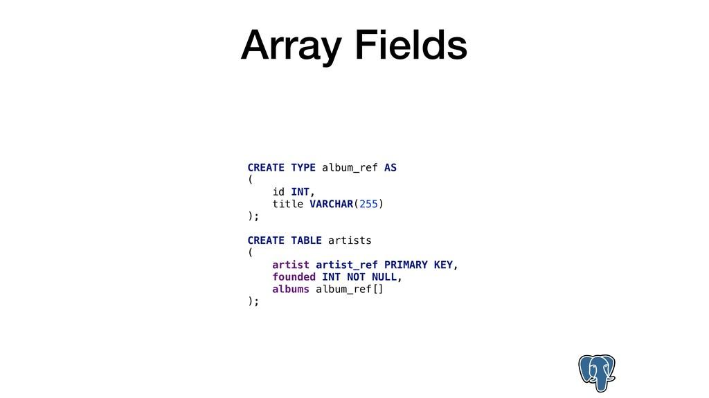 Array Fields CREATE TYPE album_ref AS ( id INT,...