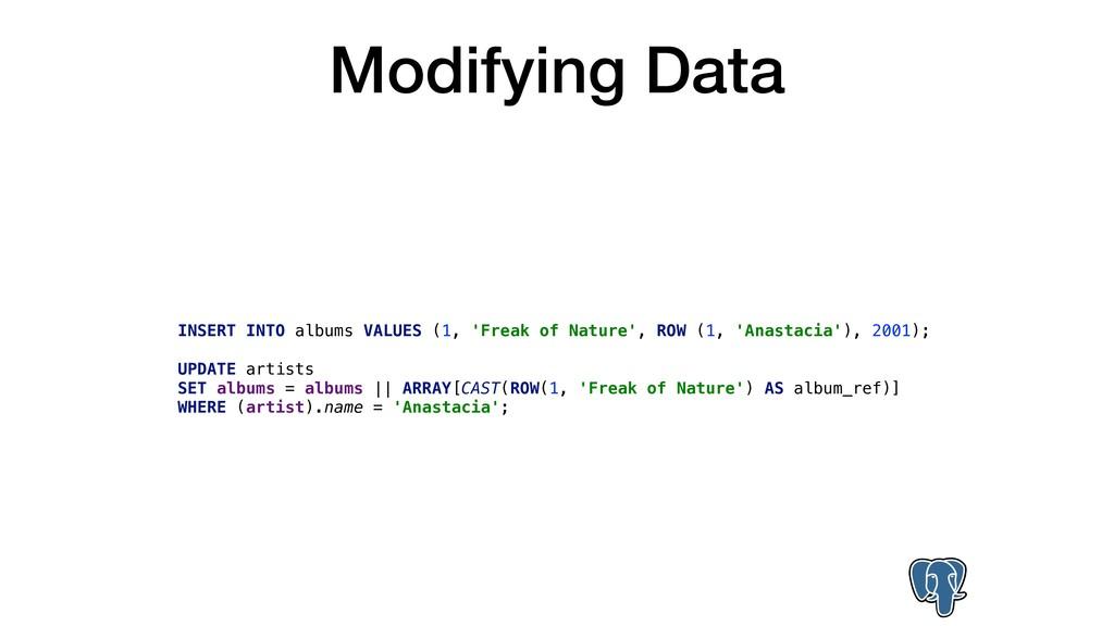 Modifying Data INSERT INTO albums VALUES (1, 'F...