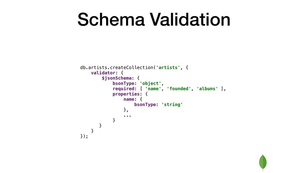 Schema Validation db.artists.createCollection('...
