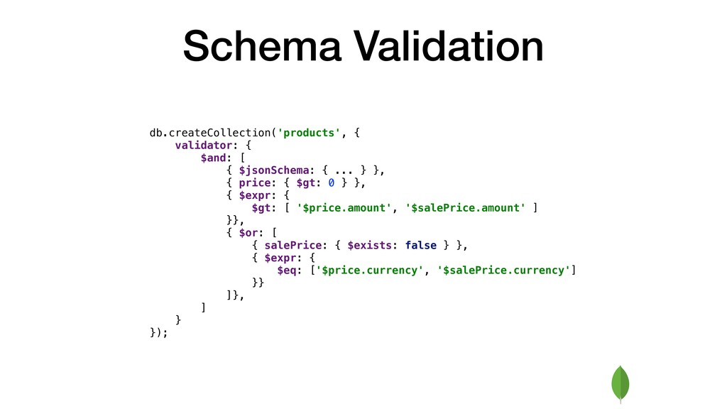 Schema Validation db.createCollection('products...