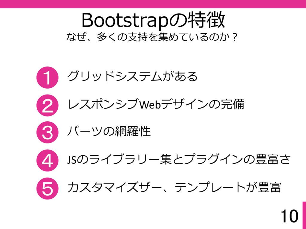 10 Bootstrapの特徴 なぜ、多くの支持を集めているのか? 1 グリッドシステムがある...