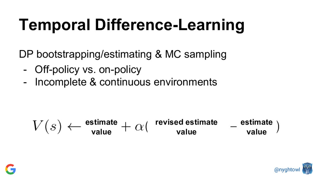 @nyghtowl Temporal Difference-Learning DP boots...