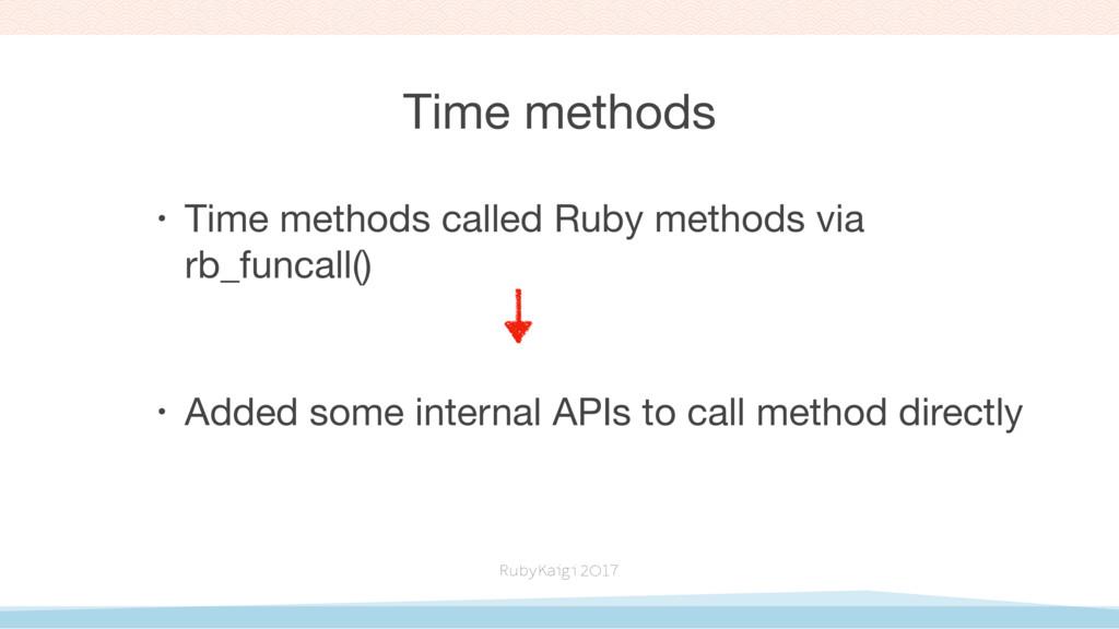 Time methods • Time methods called Ruby methods...