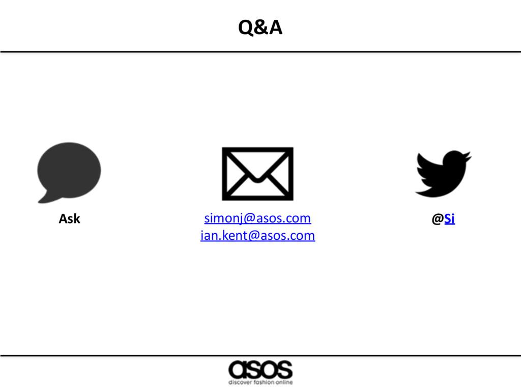 Q&A Ask simonj@asos.com ian.kent@asos.com @Si